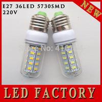 free shipping 5pcs/lot LED light lamps e27 led light 5730 e27 220V Energy Efficient Corn Bulbs E27 5730 36LEDs Lamp 5730 SMD
