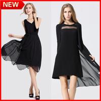 New Arrival Spring 2014 Women Fashion Plus Size Sixy Spaghetti Strap Chiffon Black One-piece Dress TOP QUALITY FREE SHIPPING