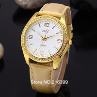 Hot 2014 New Fashion Luxury Gold Women Casual Watch Leather Strap Dress Watch for Women Lady Quartz Watch Relogio Feminino