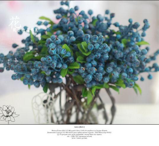 10pcs Decorative Blueberry Fruit Berry Artificial Flower Silk Flowers Fruits For Wedding Home Decoration Artificial Plants(China (Mainland))
