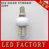5pcs/lot Corn Bulbs E14 5730 24LEDs e14 led Lamps e14 220v 5730 SMD 9W Takes Advantage Of The Energy Saving Warm White/White