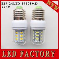 free shipping High lights E27 LED Light 220V E27 led bulbs & lamps Corn Bulb E27 5730 24LED Lamps 5730 SMD 9W Canble Lighting