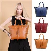 2015 New Vintage Rivet Shoulder Bags European American Style Women Genuine Leather Handbags Lady Messenger Bags NO104