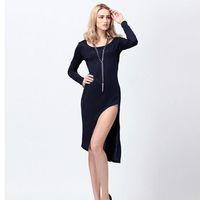 2014 New Sexy Fashion Womens Split Bodycon Slim Fit Long Sleeve Irregular Slit Dress Black Grey Dress Free Shipping