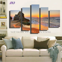 5 Panels Beautiful  Sunset 100% Handmade Realistic Landscape Oil Painting  On Canvas Wall Art  ,Top Home Decoration TH001