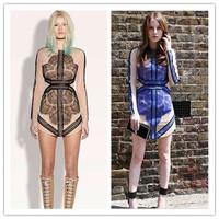 New fashion 2014 summer three veneer stitching lace long-sleeved dress,sexy club perspective gauze dress Slim floor(Black Blue )