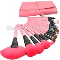 Professional 24 pcs Pink  Makeup Brush Set  tools make-up Toiletry Kit Wool Brand  Cosmetics  Brush Set+ Pink  make up bag