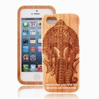 Lord Ganesha For iPhone 5S Cherry Wood Case Lord of Success Destroy Evils and Obstacles God of Education Knowledge Wisdom Wealth