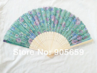 (100 pcs/lot) Handmade 8 inches Bamboo with Fabric Flower Patterns Women's Hand Fans