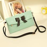 women messenger bags 2014  bow bag Candy colors small messenger cross-body handbag PU leather handbags