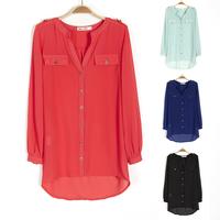 XXXXL Large size 4 color women fat girl Plus obesity Plus big spring sun protection clothing long-sleeved V-neck chiffon shirt