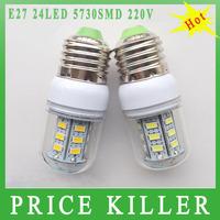 FREE SHIPPING E27 5730 LED light Led lamp 220V Corn Bulbs E27 5730 24LEDs Lamps 5730 SMD 9W Energy Efficient E27 led lighting
