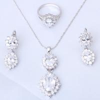 Luxury Fashion jewelry 18k gold plated zircon Jewelry Sets Earrings Necklace rings sz #5.25 #6.5 #6.25 #7.5 #7.75 #8.25 JS123