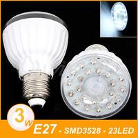 E27 IR Infrared Motion Sensor 23 LED Light Bulb Lamp 5m