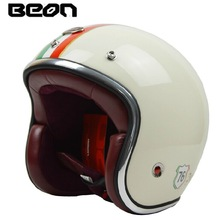 Fashion brand BEON motorcycle helmet vintage Scooter open face helmet retro 3/4 capacete GFRP Material cascos ECE approved(China (Mainland))