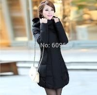 2014 New Women White Dark Down Coat Medium-long Down Winter Female Thickening Rabbit Large Fur Collar Clothing Women's Jacket