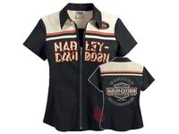 For Harley 110th Anniversary 2014 new Women short sleeve shirt Motorcycle Zipper blouses