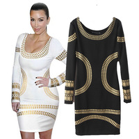 Free Shipping 2014 New Arrive Spring Autumn Long-sleeve O-Neck Dress Women Slim Hip gilding One-piece OL Dresses 4 size S M L XL