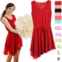 2014 plus size  s-xxxl solid color chiffon one-piece dress, fashion Irregular dress ,cute dress tank dress