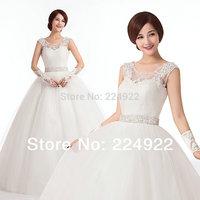 2014 New Fashionable Romantic Sexy Lace Shoulder Straps Vintage Bandage Wedding Dresses Women Plus Size Ball Gown Bride Dress