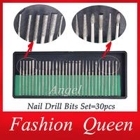 30pcs Professional Electric Nail Drill Bits Set Kits,For Manicure Pedicure Nail Drilling Machine,3/32 File Shank Nail Art Tools