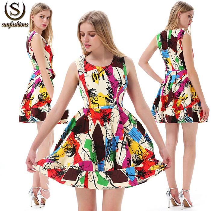 SUNFASHION 2014 Summer New Designer Multicolor Sleeveless Short Dress Women's Fashion Graffiti Print Flare Dress(China (Mainland))