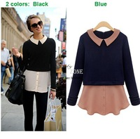 2014 European Style Women's Splicing Slim Tops Women's Casual Blouses Long Sleeve Peter Pan Collar Blouse 18590 #012