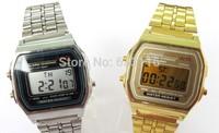 1pcs/lot retail new hot sales high quality metal stainless steel men women gold lights become light digital LED quartz watch