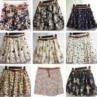 2014 Mini Saias Femininas Casual Fashion Women Pleated Floral Print Chiffon Tulle Shorts Skirt Belt Include 1Pcs 1820