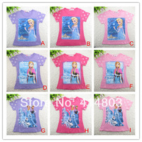 Ready to Ship!! 2014 new HOTEST FROZEN ELISA/ ANNA/ Queen Sisters Short sleeve tshirts t-shirts top tees/2-6T 5pcs/lot