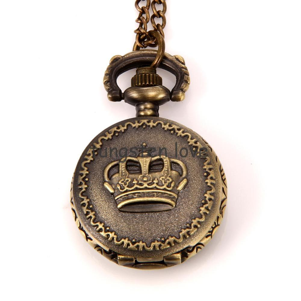 Steampunk Pocket Watch Pendant Vintage Style Crown Design on Lid with 78cm Chain Long Sweat Necklace for women gift(China (Mainland))