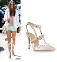 REAL PHOTO!Large Size 10 Best Selling Rockstud Pumps Rivets Two-tone T-strap Slingback Sandal Women Spike Heels Shoes
