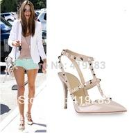 REAL PHOTO!2014 New Patent Leather Rockstud Pumps Rivets Two-tone T-strap Slingback Sandal Women Spike Heels Shoes 34-41 EU Size