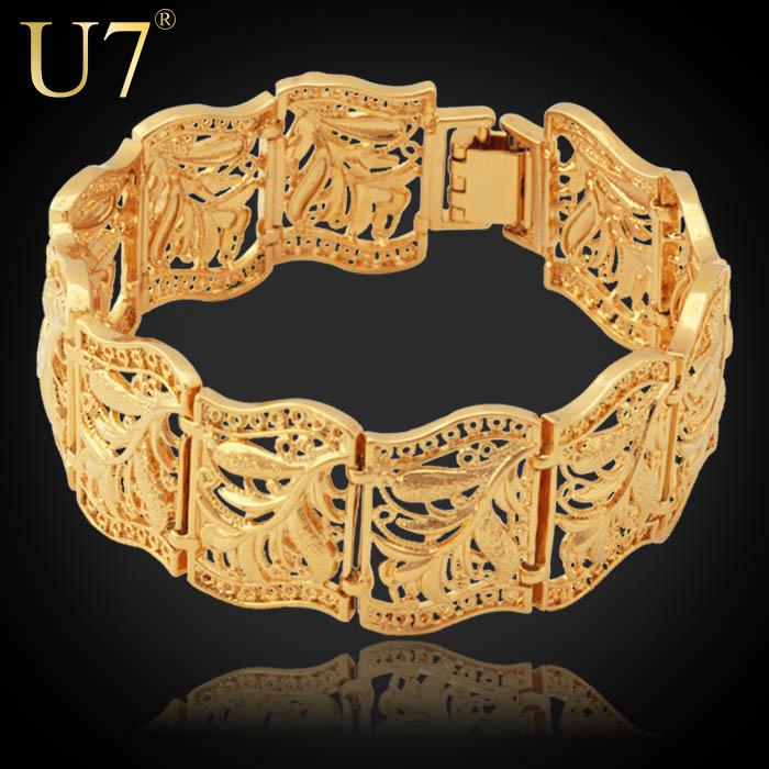 Gold Bracelet Bangle 2014 Trendy Platinum/18K Real Gold Plated Fancy Pattern 20 CM Chunky Chain Bracelet Women/Men Jewelry H406(China (Mainland))