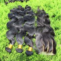 5A Brazilian Virgin Hair body wave 4pcs Lot 3 Part Lace Closure With 3pcs Hair Bundles Unprocessed Human Virgin Hair Extensions