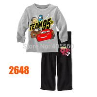 Boys Speed Cars Pajamas Set Older Children Cotton Clothing Sets New 2014 Wholesale 8-12Y Kids LongSleeve Cartoon Pjamas 2648