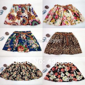 Бесплатная доставка 2014 винтаж новинка леопард лето шифон женская юбки свободного покроя цветочные летнее платье короткие юбки WS001 нет ремень