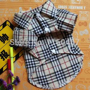 Fashion Dog T-shirt Clothes Grid Pet Shirt Hot Selling Pet Dog Clothes Summer (China (Mainland))