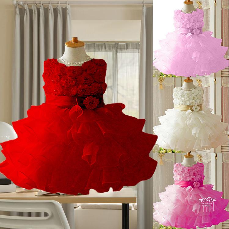 Retail !2014 new sleeveless Waist Chiffon Dress Girls Toddler 3D Flower Tutu Layered Princess Party Bow Kids Formal Dress--1pcs(China (Mainland))