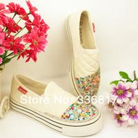 Canvas shoes female platform canvas shoes crystal canvas shoes rhinestone pasted crystal shoes canvas slippers