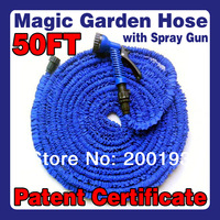 [PATENT CERTIFICATE] Free Shipping Working Lenght 15Metres Plastic Connector 50FT Blue Garden Water Hose+Spray Gun  EU