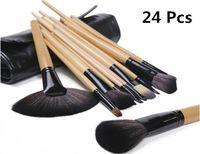 Rosalind Professional 24 Makeup Brush Set tools Make-up Toiletry Kit Wool Brand Make Up Brush Set Case free shipping