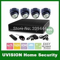 Home 4CH H.264 960H CCTV Security Cameras DVR System 4PCS 800TVL CMOS CCD indoor dome ir-cut cameras 4ch Kit