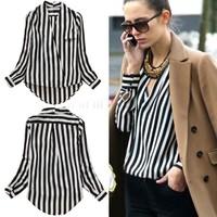 2014 Summer Fashion Women's Long Sleeve Cross V Neck Sexy Vertical Stripe Shirt Women's Blouse S/M/L SV001286 #3