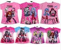 2014 new arrival girl's cartoon monster high fashion design t-shirt, short sleeve t shirt free shipping
