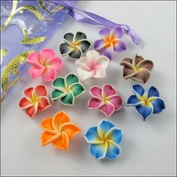Free Shipping 100pcs Mixed Color Polymer Fimo Clay 5-leaves Flower Spacer Loose Beads 15mm For Jewelry Making Craft DIY