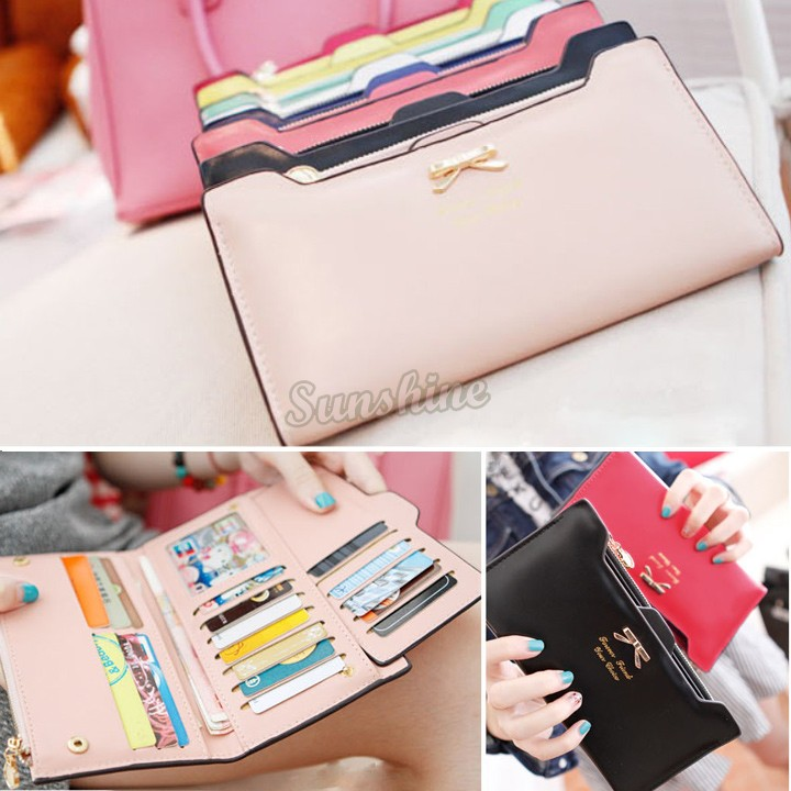Women wallet Golden Bowknot Long PU Leather Card Holders Clips Flower Hasp Buckle Open Wallets Clutch Case Purse SV001289 b009(China (Mainland))