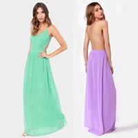 2014 Newest Fashion Women Summer Dress Halter Cross Spaghetti Strap Bohemian Maxi Long Chiffon Prom Casual Sexy Party Dresses