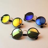 Women Retro Round Sunglasses Reflective Glasses Metal Frame Eyeglasses Free shipping & DropShipping