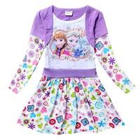 2014  Long Sleeve Girl Dress Frozen Casual Cotton Kids Party Girl Dress